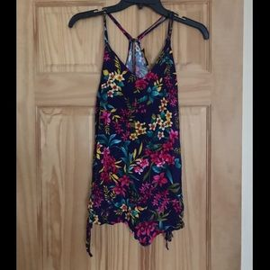 Pants - Floral Romper with Keyhole Back